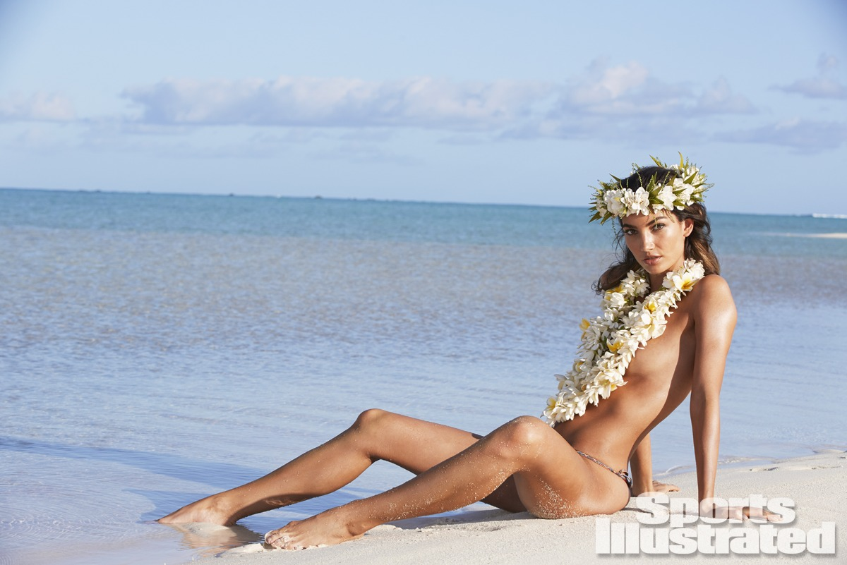 Lily Aldridge was photographed by James Macari in the Cook Islands. Swimsuit by CA by Vitamin A.