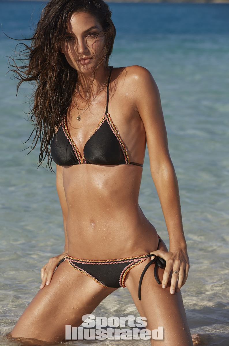 Lily Aldridge was photographed by James Macari in the Cook Islands. Swimsuit by Solkissed Swimwear.