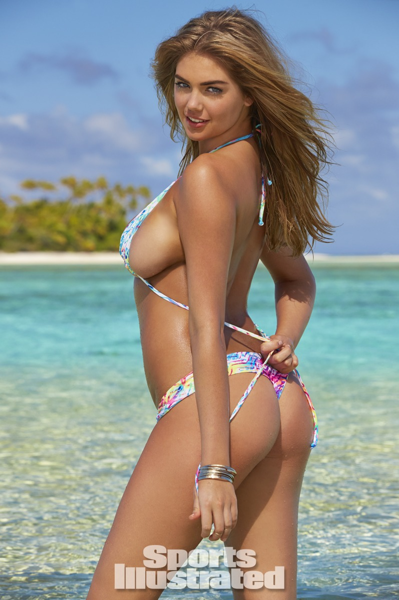 Kate Upton was photographed by James Macari in the Cook Islands. Swimsuit by STONE FOX SWIM.