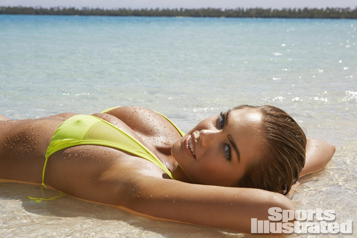 Kate Upton was photographed by James Macari in the Cook Islands. Swimsuit by Kate Swim.