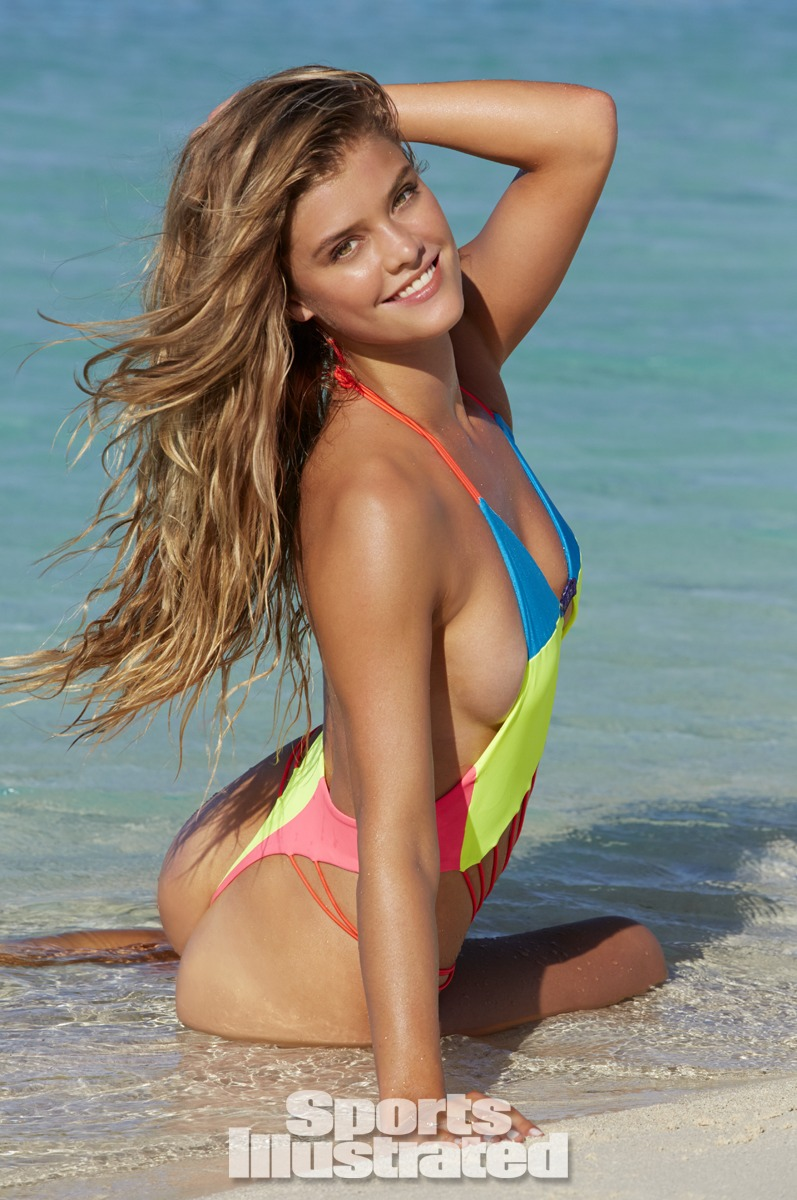 Nina Agdal was photographed by James Macari in the Cook Islands. Swimsuit by Martha Rey for The La Boheme.