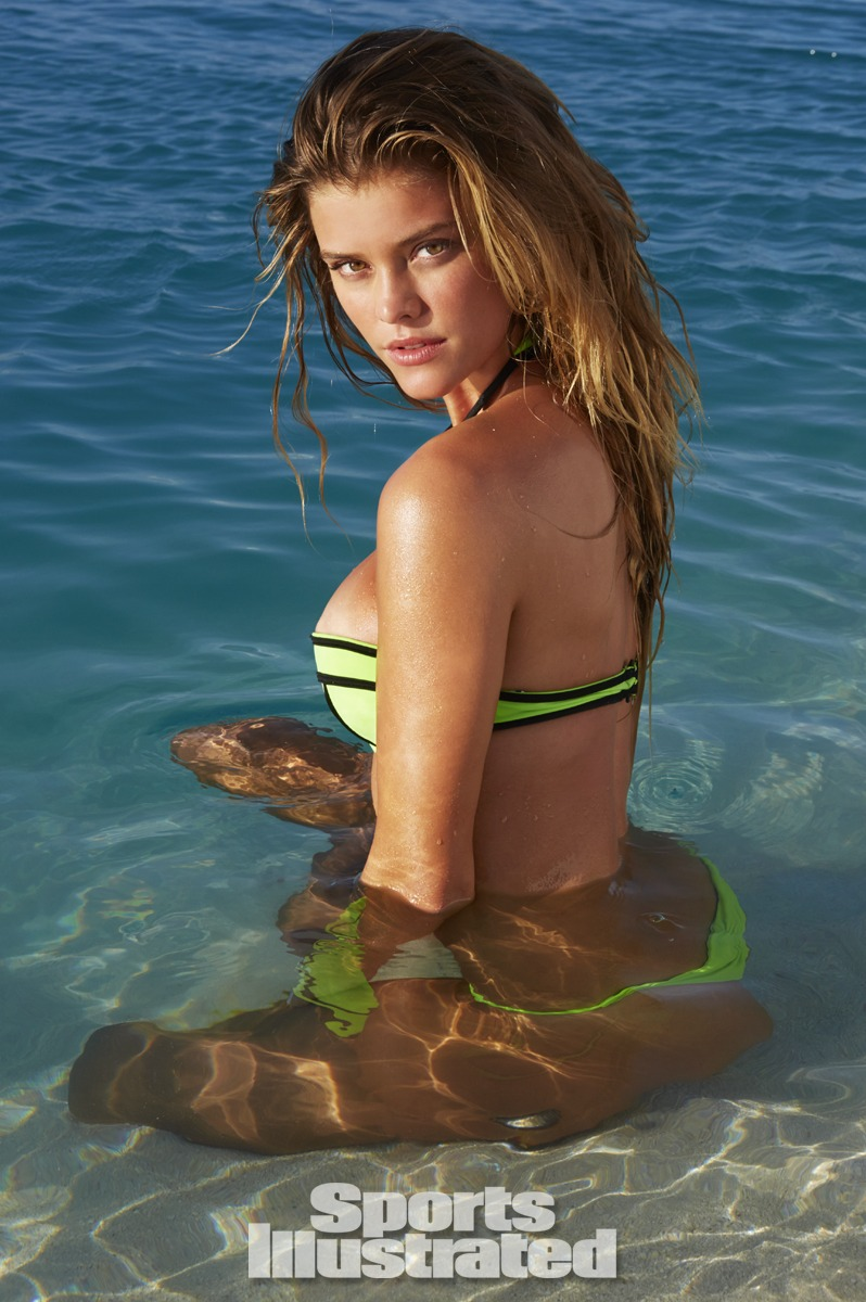Nina Agdal was photographed by James Macari in the Cook Islands. Swimsuit by Beach Riot.