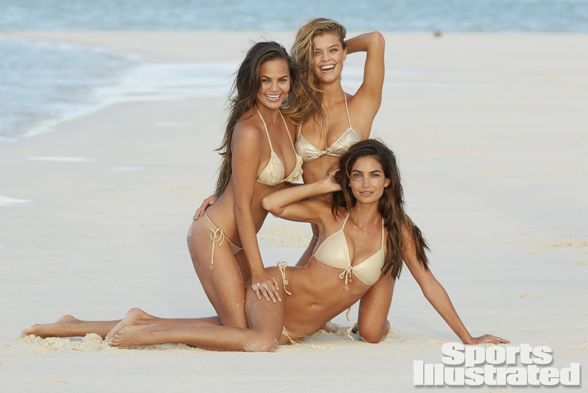 Chrissy Teigen, Nina Agdal and Lily Aldridge were photographed by James Macari in the Cook Islands. Swimsuits by San Lorenzo and Luli Fama.