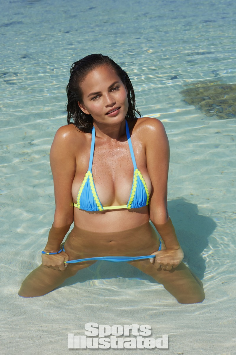 Chrissy Teigen was photographed by James Macari in the Cook Islands. Swimsuit by Ola Vida.