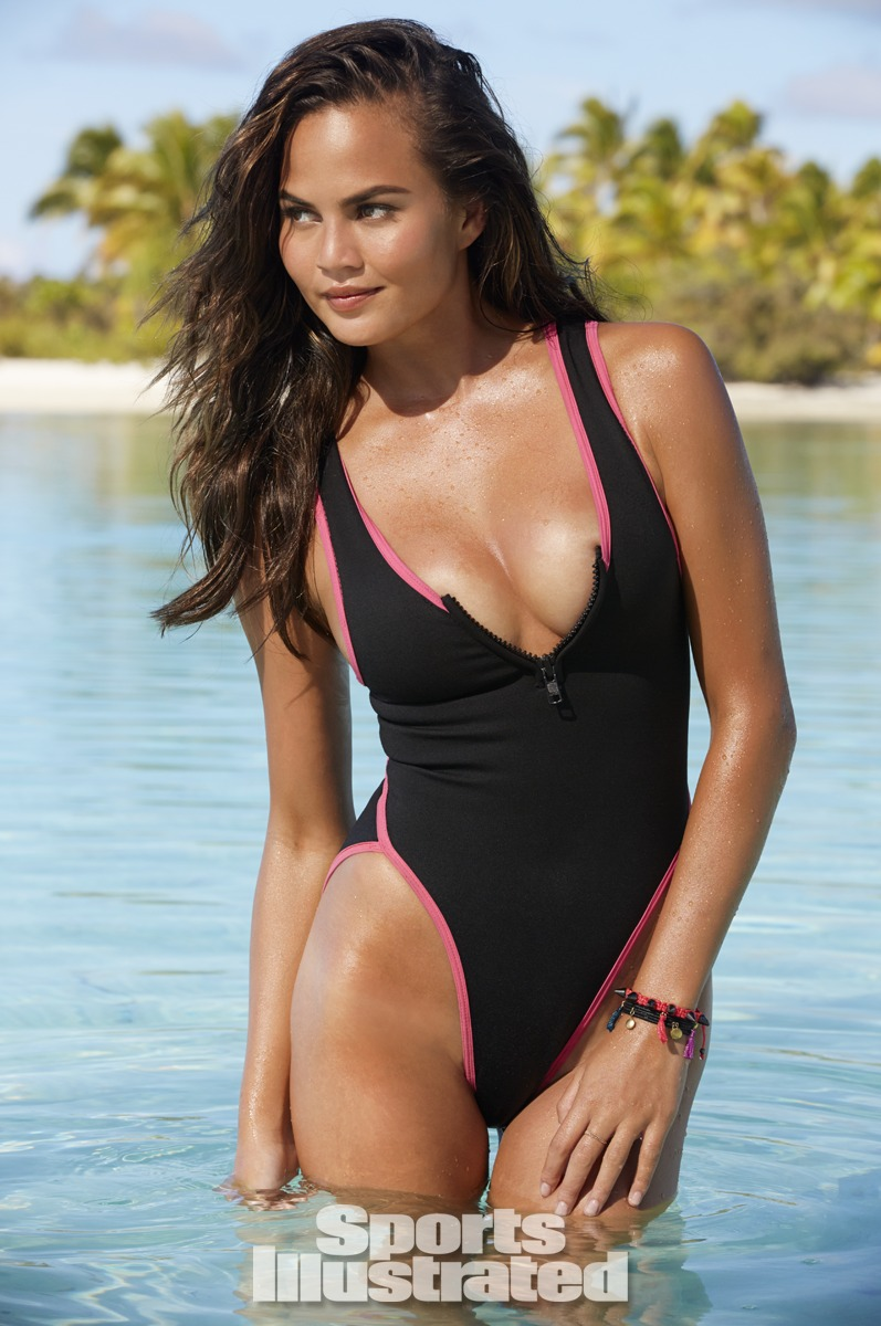 Chrissy Teigen was photographed by James Macari in the Cook Islands. Swimsuit by Mary Grace Swim.