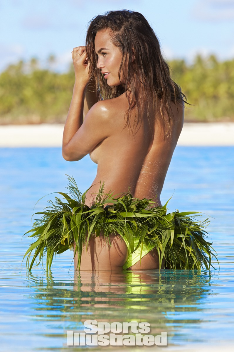 Chrissy Teigen was photographed by James Macari in the Cook Islands. Swimsuit by MIKOH.