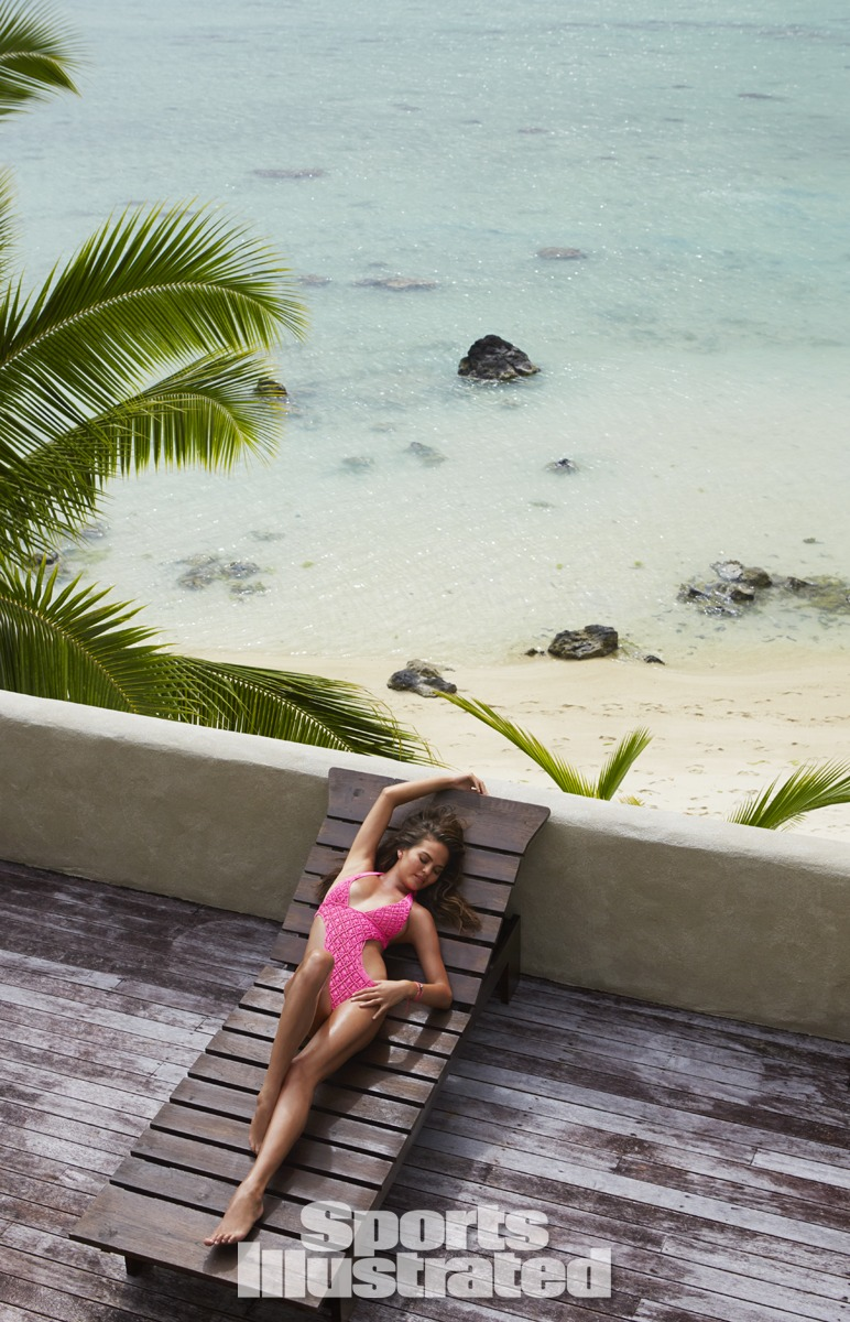 Chrissy Teigen was photographed by James Macari in the Cook Islands. Swimsuit by Tori Praver Swimwear.