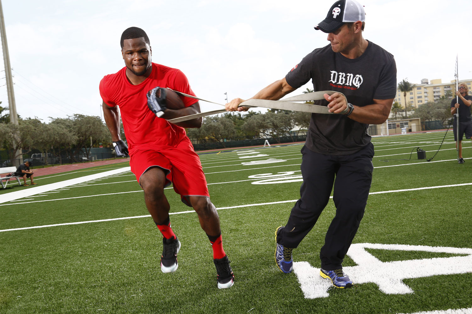 Ohio State running back Carlos Hyde works on improving his 40 time with a trainer in Tampa, FL.