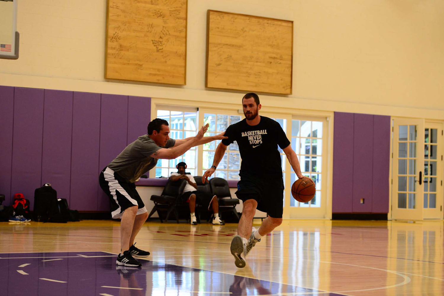 Kevin Love working out with NBA trainer Rob McClanaghan in Los Angeles.