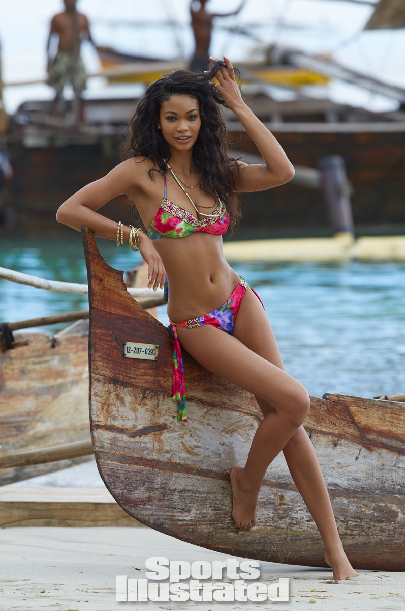 Chanel Iman was photographed by Derek Kettela in Madagascar. Swimsuit by Maui Girl by Debbie Wilson.