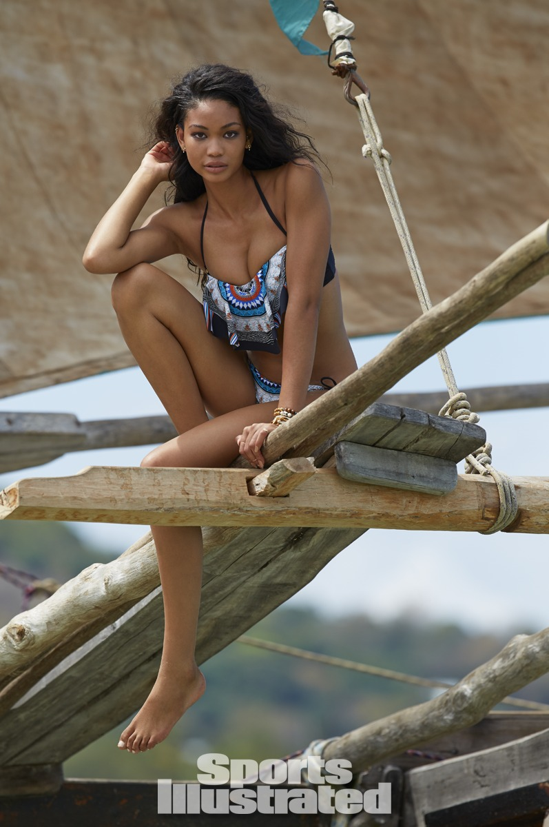 Chanel Iman was photographed by Derek Kettela in Madagascar. Swimsuit by Red Carter.