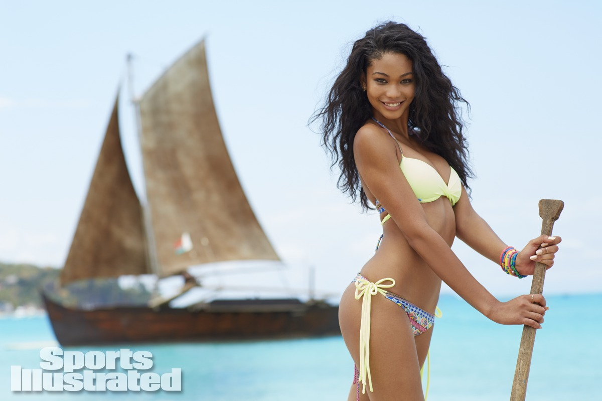 Chanel Iman was photographed by Derek Kettela in Madagascar. Swimsuit by Solkissed Swimwear.