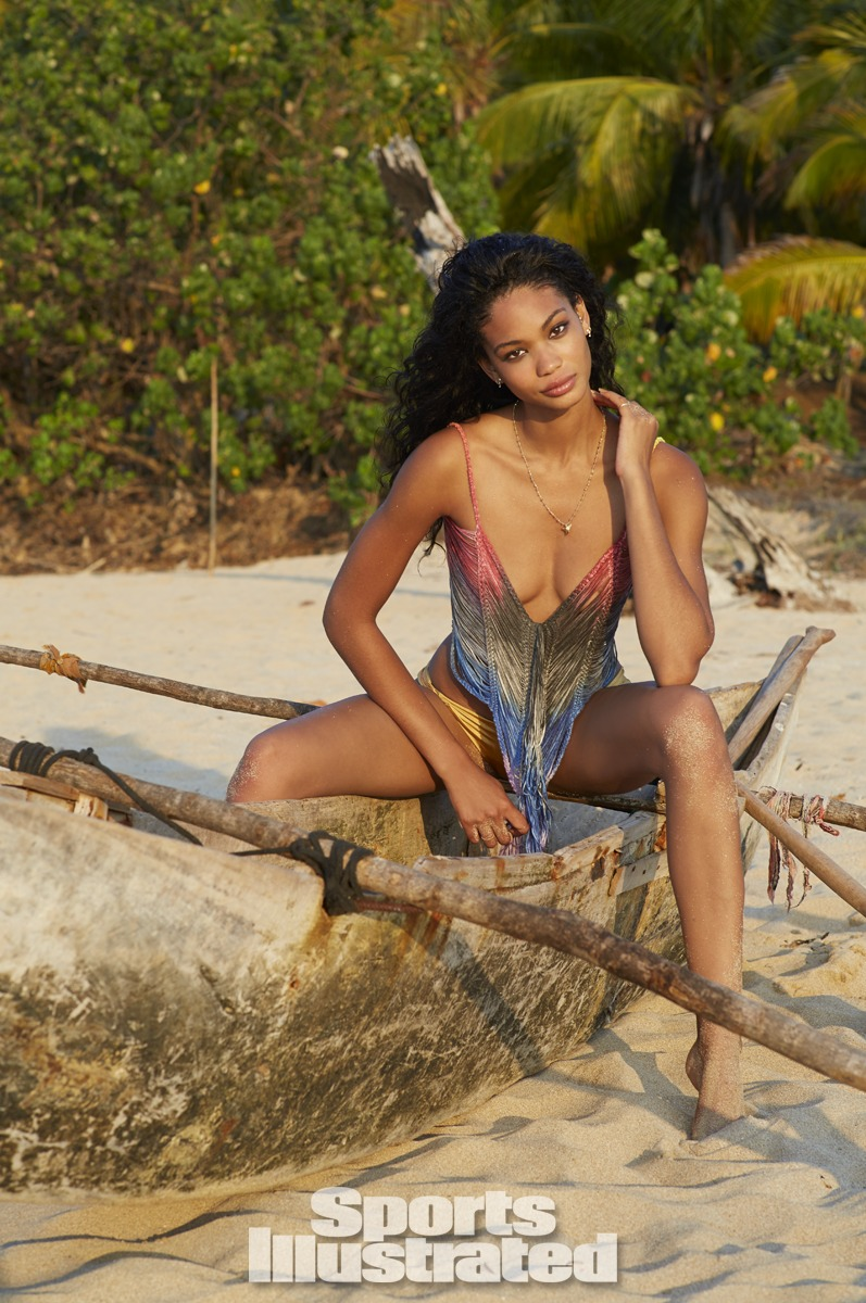 Chanel Iman was photographed by Derek Kettela in Madagascar. Swimsuit and top by Indah.