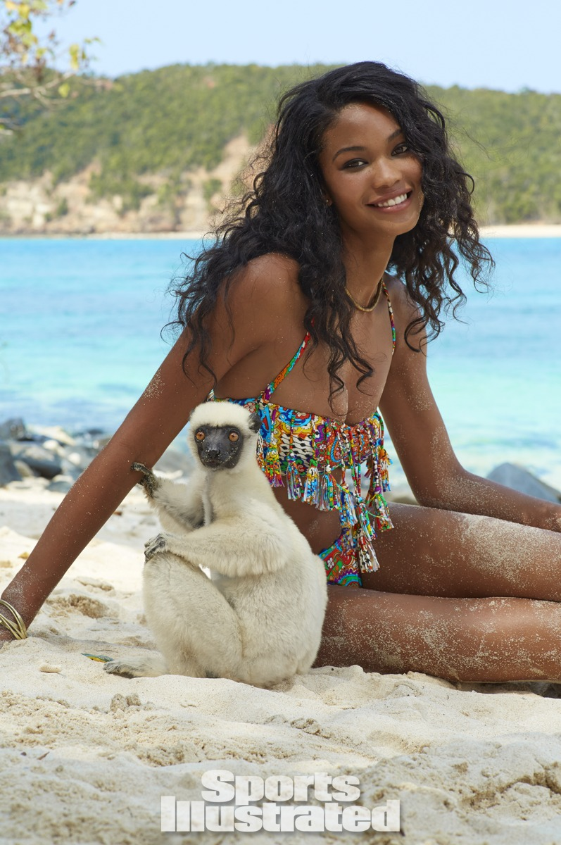 Chanel Iman was photographed by Derek Kettela in Madagascar. Swimsuit by Luli Fama.
