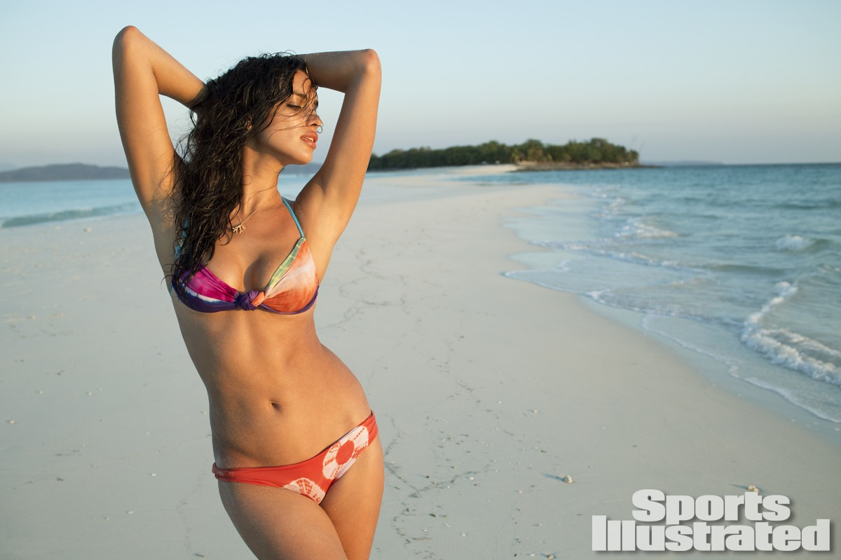 Irina Shayk was photographed by Derek Kettela in Madagascar. Swimsuit by Martha Rey for The La Boheme.