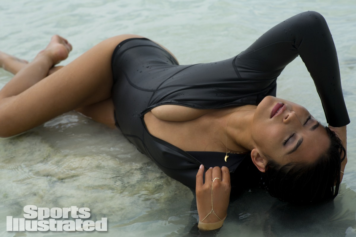 Jessica Gomes was photographed by Derek Kettela in Madagascar. Swimsuit by MIKOH.