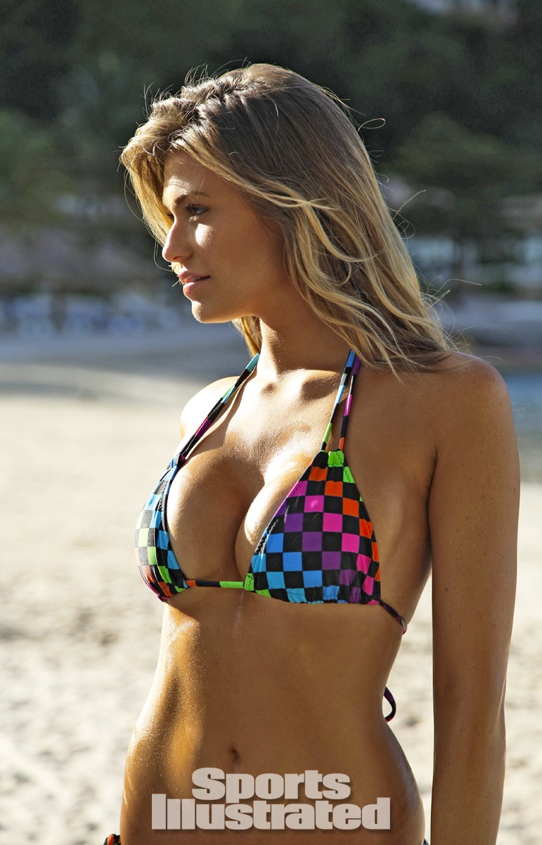 Samantha Hoopes was photographed by Walter Iooss Jr. in St. Lucia. Swimsuit by Kate Swim.