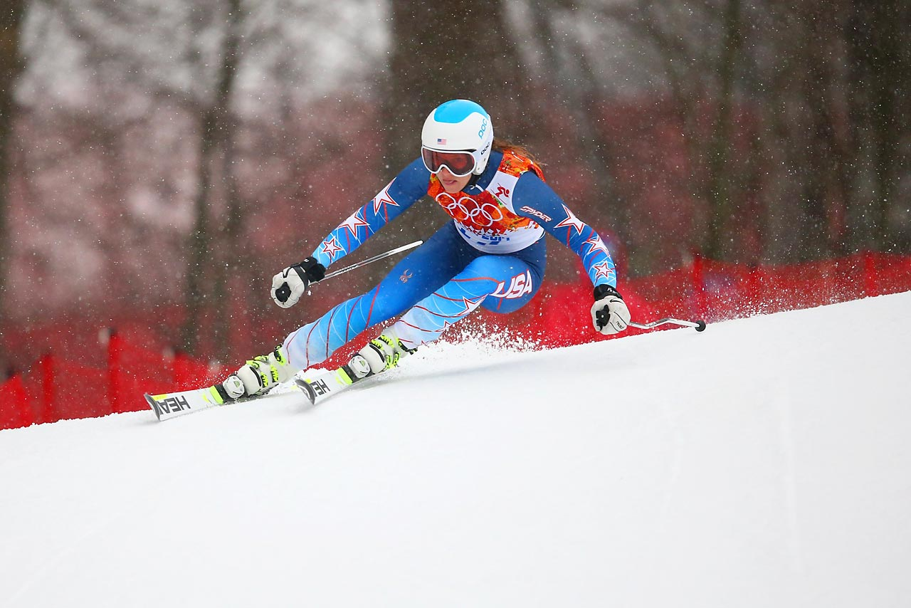 Julia Mancuso of the United States competes in the alpine skiing women's giant slalom in Sochi. She did not finish her run after missing a gate.