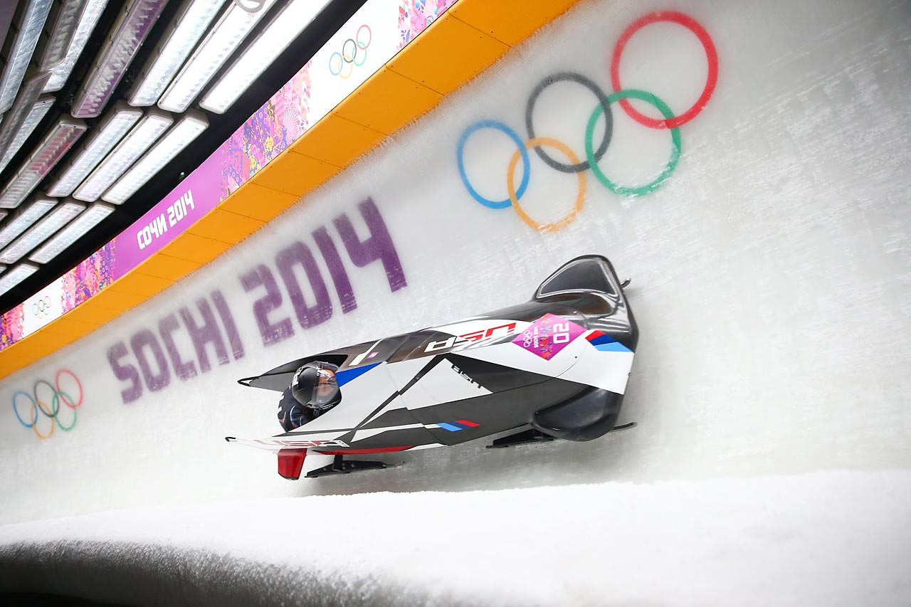 Elana Meyers and Lauryn Williams of the United States compete in the bobsled competition.