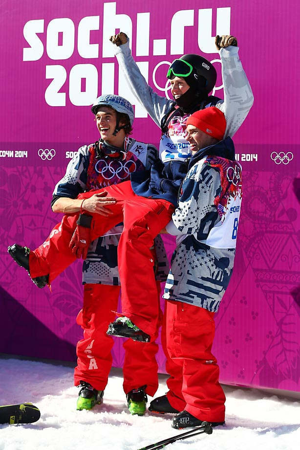U.S. medalists Joss Christensen, Nick Goepper, and Gus Kenworthy at the Slopestyle.