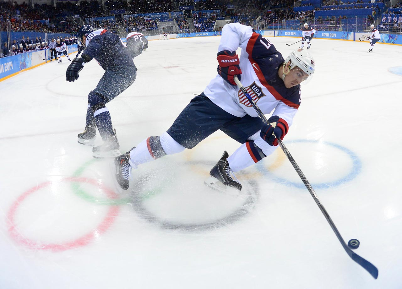 Ryan McDonagh of the U.S. against Slovakia.