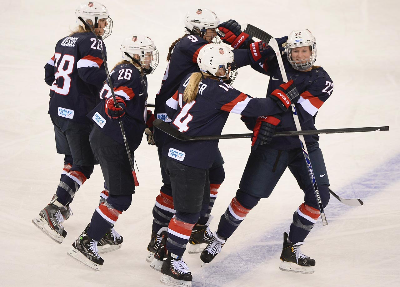 The U.S. team celebrates with Kacey Ballamy (22) after her goal bumped the lead to 2-0.