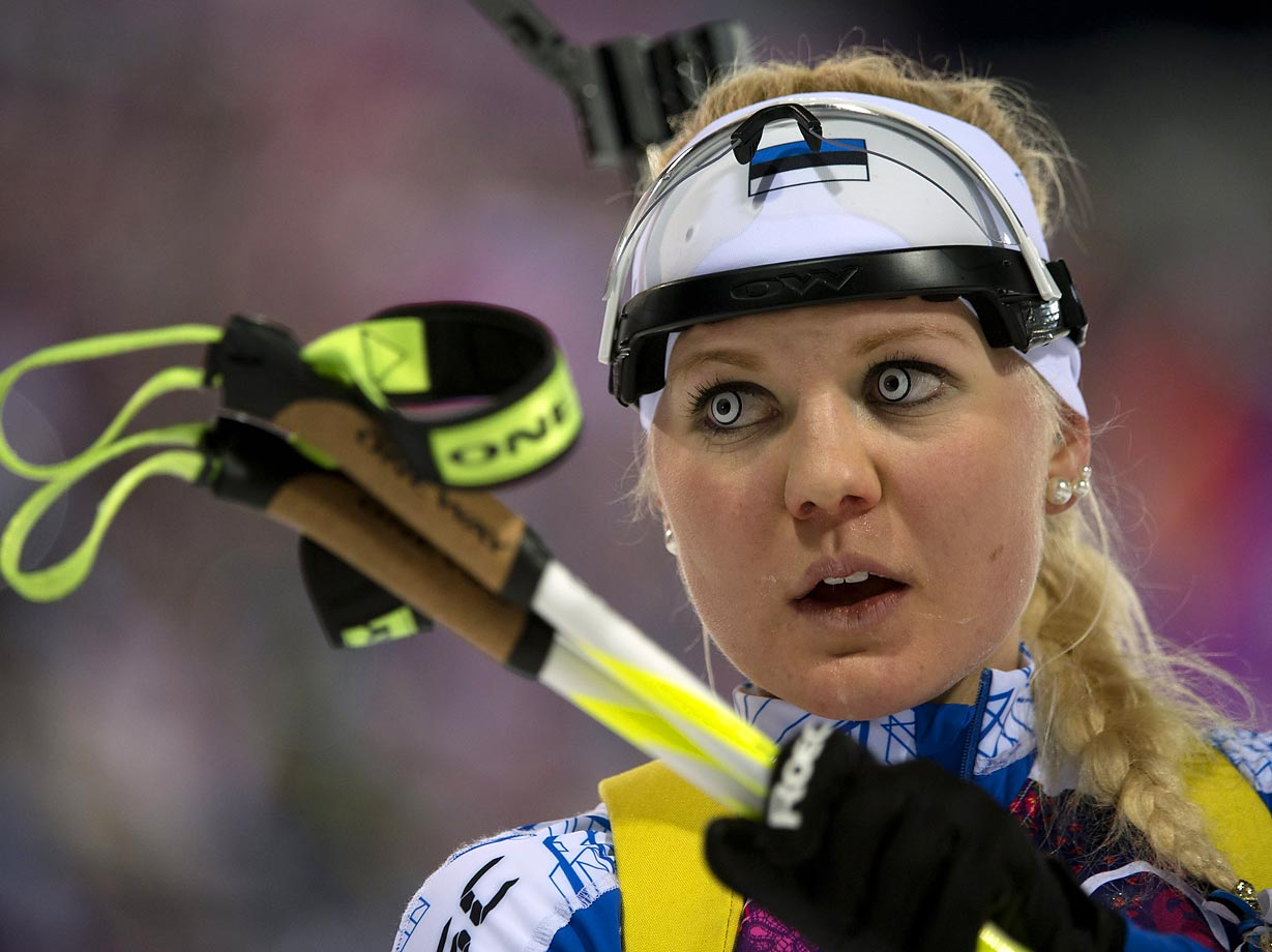 Grete Gaim of Estonia after she completed in the 7.5 km sprint at the Sochi Olympics.