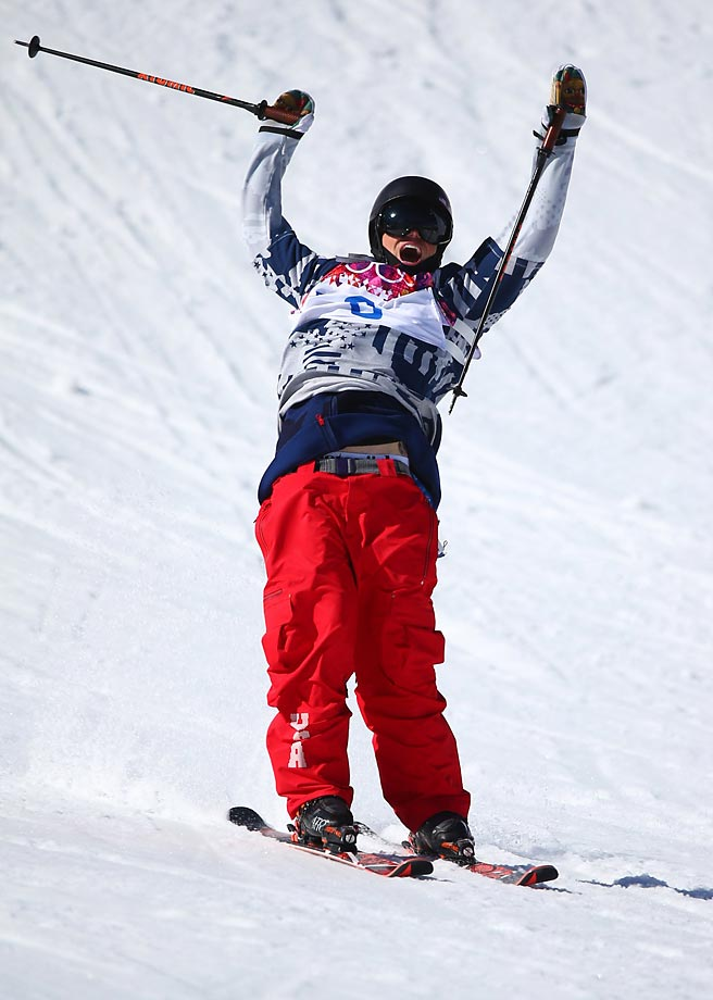 Gus Kenworthy celebrates his run.