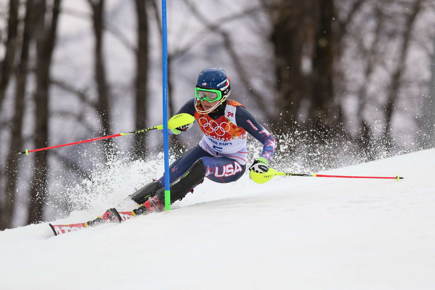 Mikaela Shiffrin in action for the USA at the Winter Olympics in Sochi.