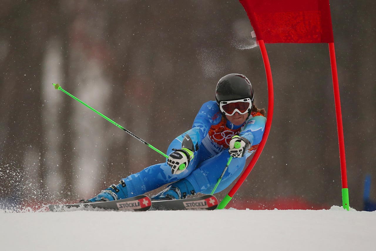 Skier Tina Maze of Slovenia competes during the first run of the giant slalom competition. She finished with the best time.