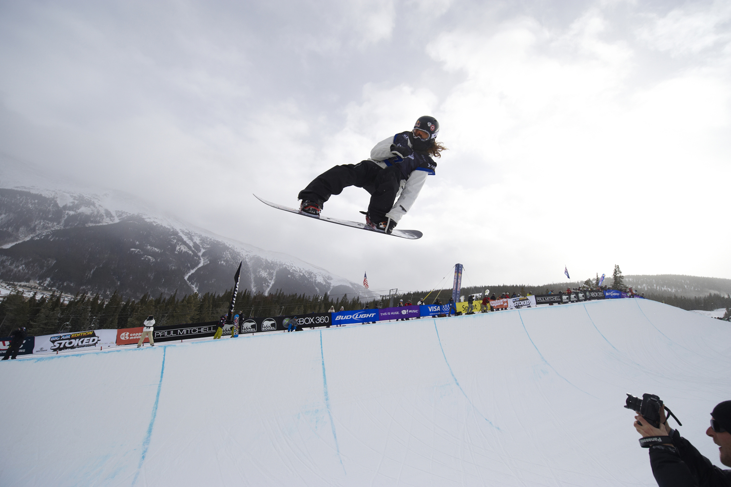 US Grand Prix: USA Shaun White in action during Men's Halfpipe Final at Copper Mountain Ski Resort.