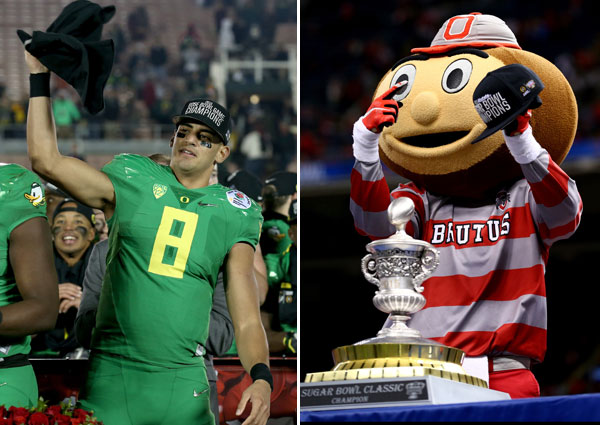 Marcus Mariota and Brutus Buckeye :: Getty Images