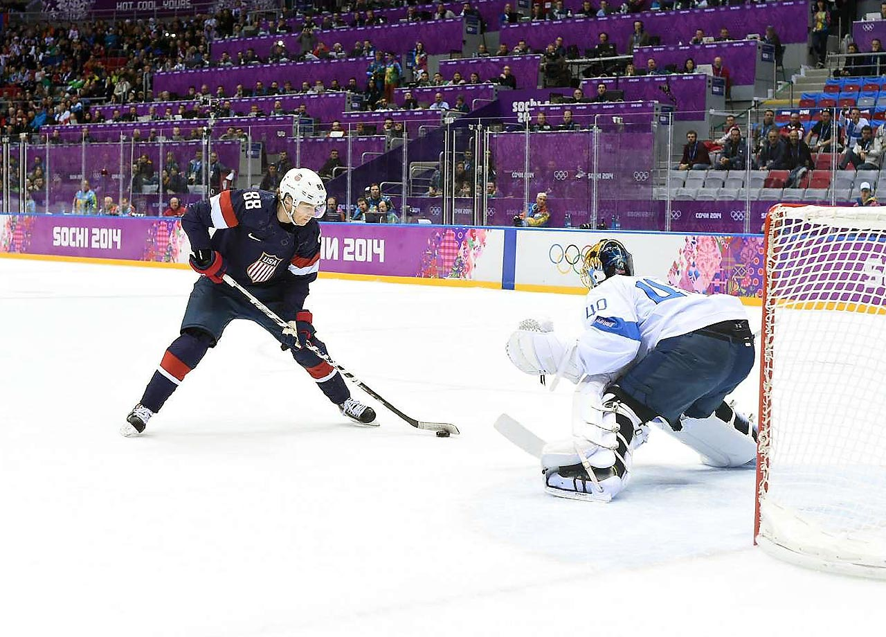 Patrick Kane of the U.S. failed to score on two penalty-shot attempts against Finland goaltender Tuukka Rask, who made 26 saves to preserve a shutout.