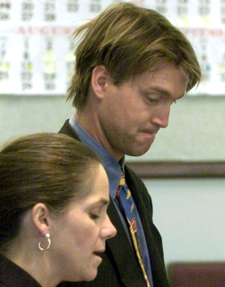 The current Avalanche coach was the team's goaltender when he was arrested after his wife called 911 during an argument about in-laws in October 2000. Mrs. Roy was unhurt and the fiery goalie admitted that he'd yanked two doors of their hinges. He was released on bail and the case was later dismissed by a county judge because it did not meet the standard misdemeanor criminal mischief during an act of domestic violence.