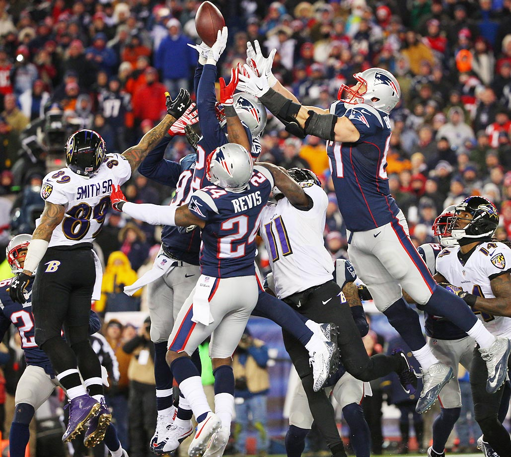The Baltimore Ravens' Hail Mary attempt falls incomplete in their loss to the New England Patriots.