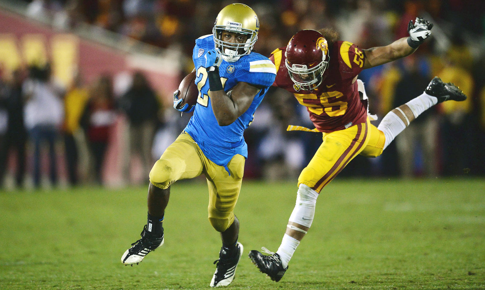 Perkins is—you guessed it—a running back who can also threaten defenses with his ability as a receiver. The rising junior averaged over six yards per carry and over seven yards per catch in 2014. His 1,575 yards on the ground last season were good for the second-highest single-season mark in UCLA history.
