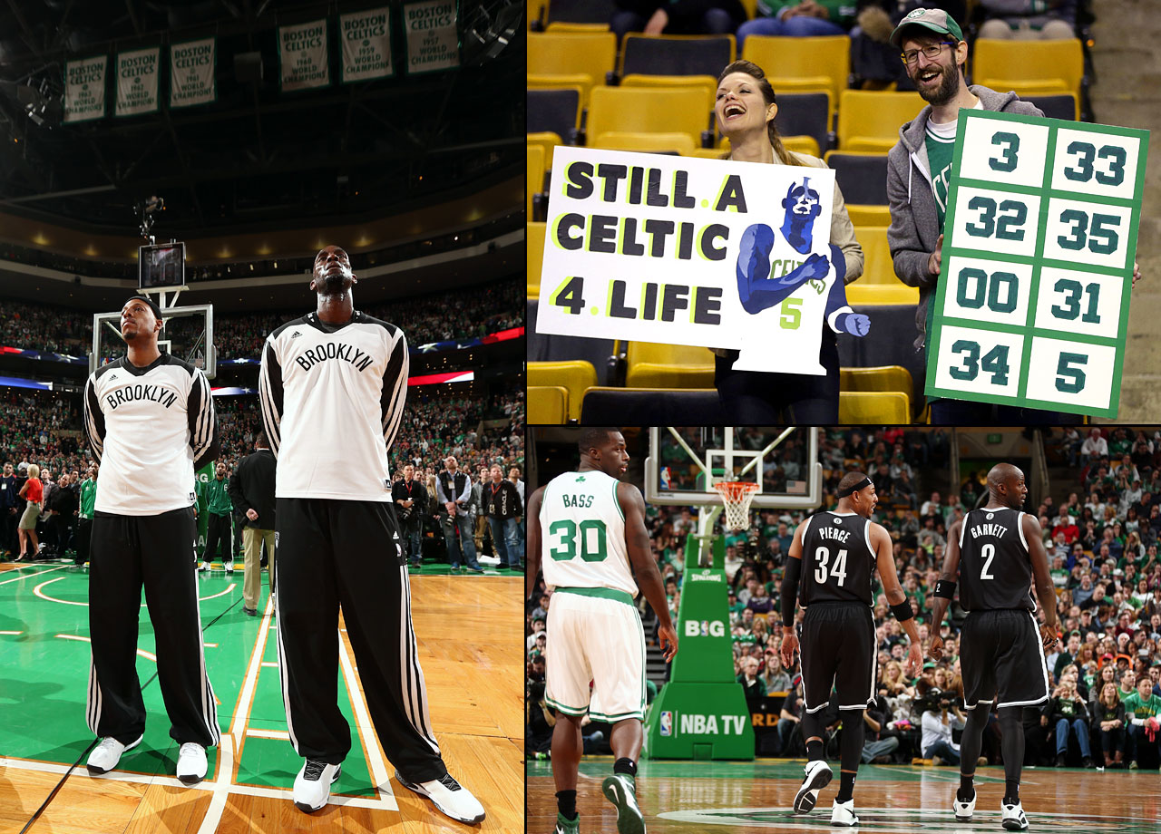Kevin Garnett stole the ball from his friend Rajon Rondo and put the finishing touch on an emotional night with a layup that helped him and Paul Pierce become winners in their return to Boston. It started with pregame standing ovations for the leaders of the Celtics last championship team and ended with an 85-79 win for the Brooklyn Nets after Garnett picked off Rondo's turnover and dribbled in slowly for an uncontested basket with 20 seconds left Sunday night. It was a rare highlight for the returning stars in a game in which they fought to control their emotions while still trying to contribute to their current team. Pierce, the second leading scorer in Celtics history, and Garnett scored just six points each, and Pierce missed eight of his 10 shots.