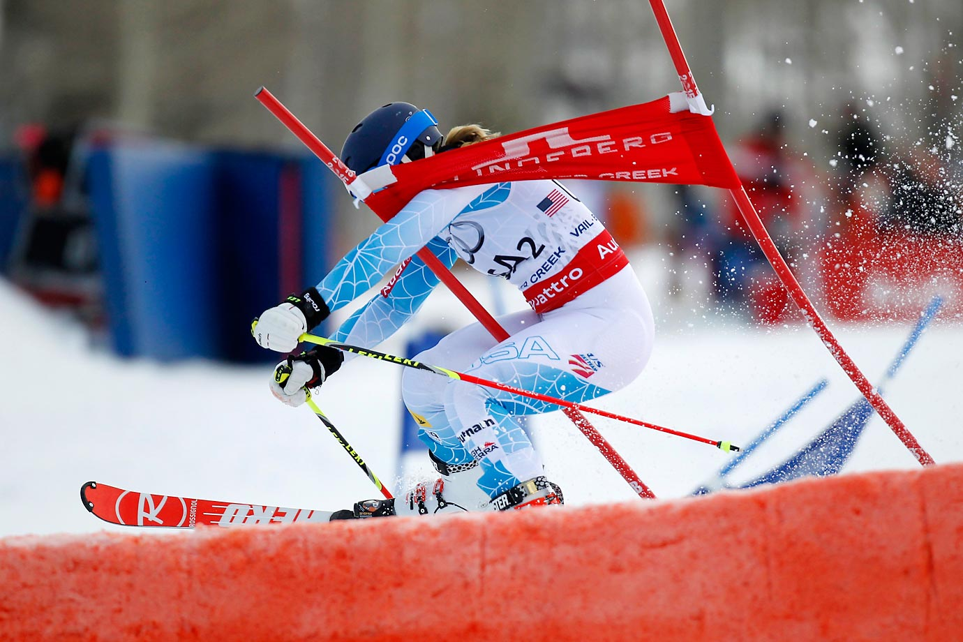 Paula Moltzan of the U.S. skis through a gate during the FIS Alpine World Ski Championships Nations Team Event.