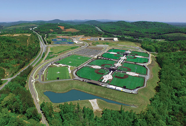 Perfect Game's complex and baseball diamonds in Georgia.