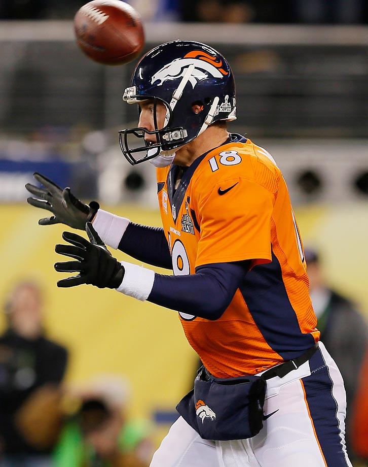 Super Bowl XLVIII got off to a rough start for Denver when the first snap from scrimmage went flying past Peyton Manning's head and into the end zone.