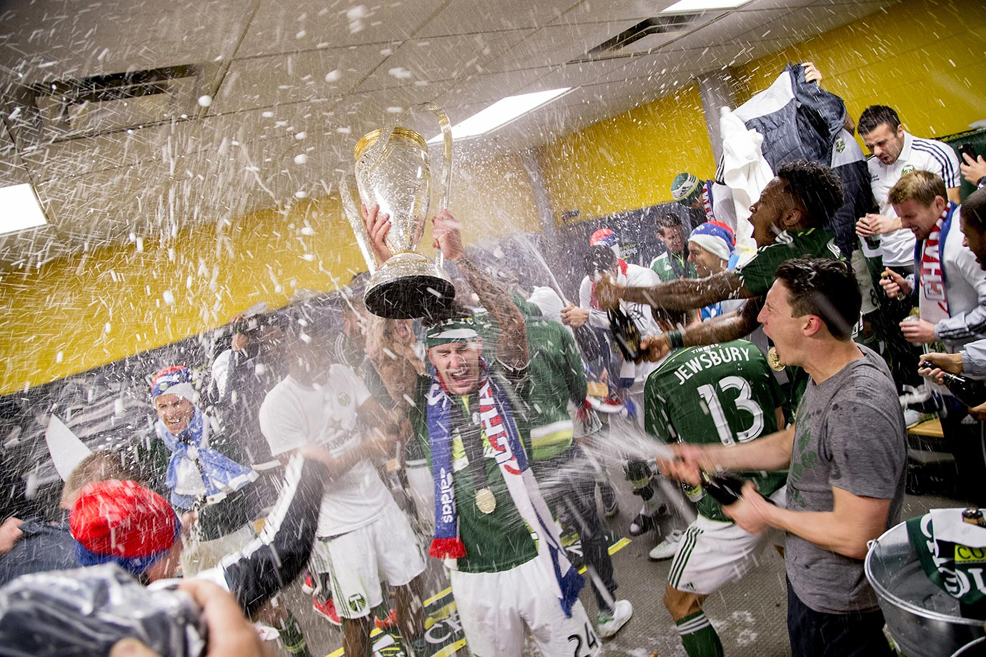 The Portland Timbers celebrate winning the MLS Cup at MAPFRE Stadium in Columbus, Ohio.