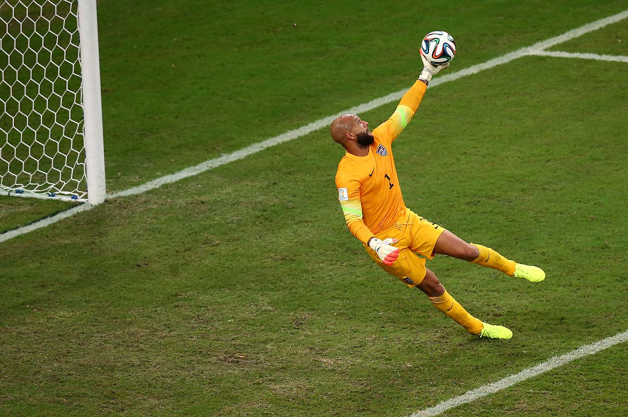 Tim Howard got off the ground to make this finger-tip save in the first half against Portugal.