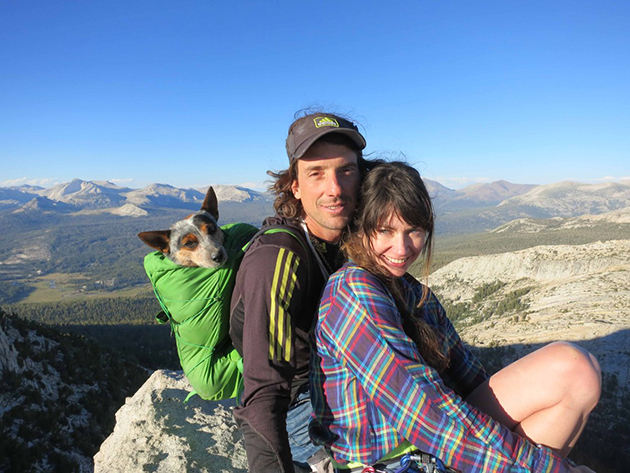 Dean, Jen and Whisper the Dog at Cathedral Peak in June 2012.