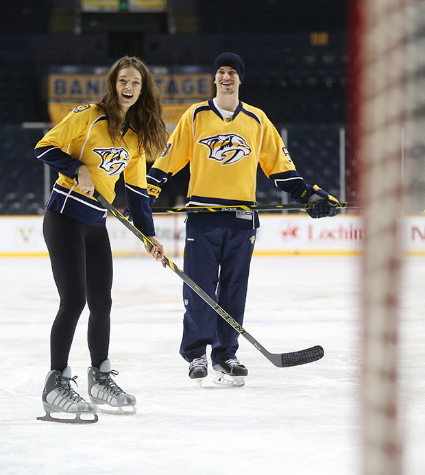 Emily DiDonato hits the ice with Roman Josi, Filip Forsberg and Seth Jones of the Nashville Predators
