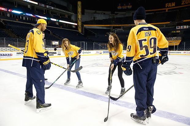 Kate Bock and Emily DiDonato hit the ice with Roman Josi, Filip Forsberg and Seth Jones of the Nashville Predators