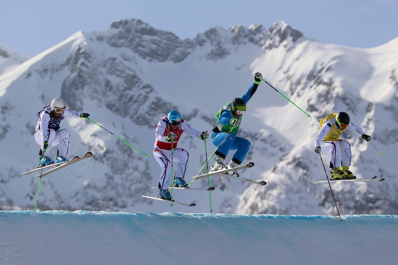 Jonas Devouassoux trails Jean Frederic Chapuis, Andrea Matt and Jonathan Midol in a quarterfinal heat of the ski cross.