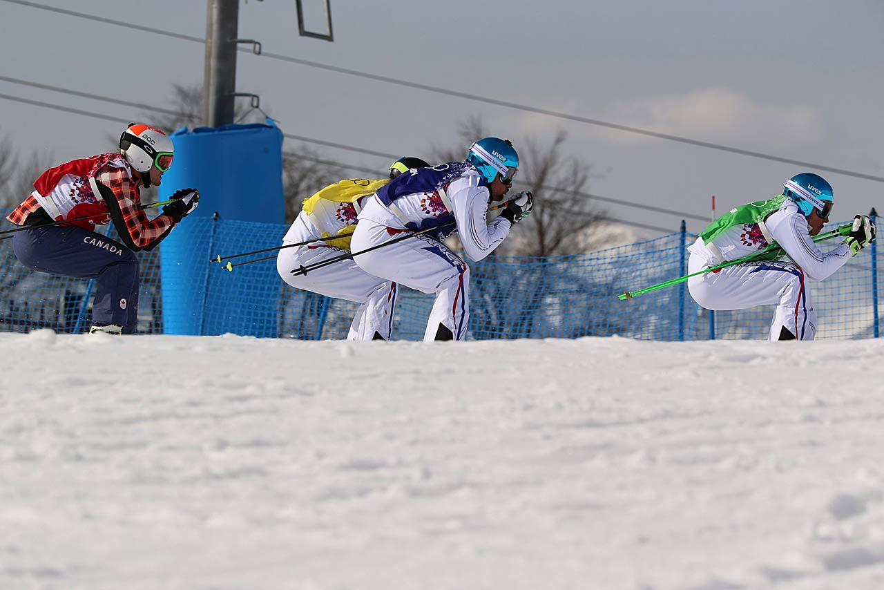 Jean Frederic Chapuis (green bib) won the gold medal in the ski cross, while Arnaud Bovolenta (blue) took home silver and Jonathan Midol (yellow) the bronze. Canada's Brady Leman finished fourth.