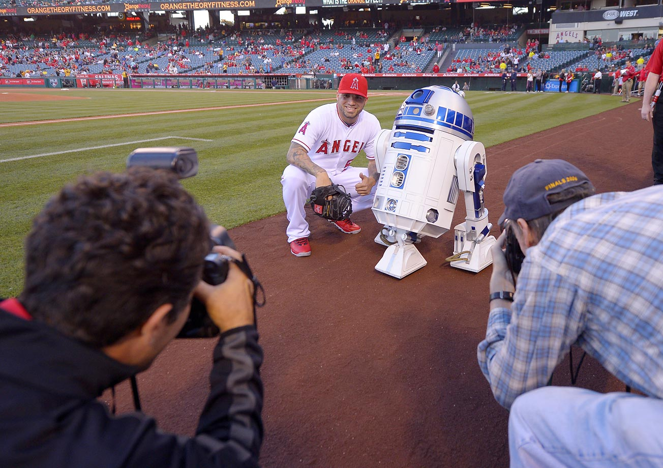 Hector Santiago of the Angels gets a visit from R2-D2 from the movie Star Wars.