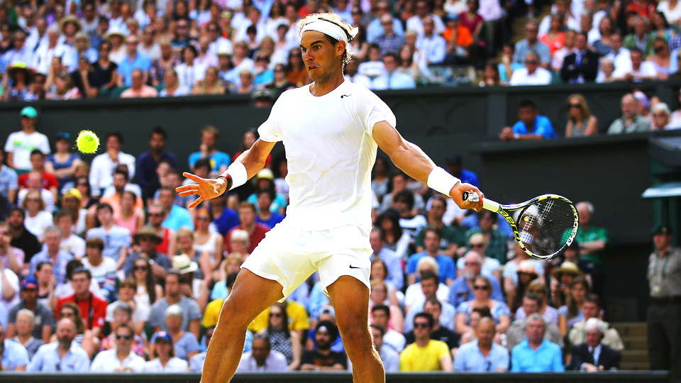 Two-time Wimbledon champion Rafael Nadal had to work hard for his first-round victory at Wimbledon, beating Martin Klizan 4-6, 6-3, 6-3, 6-3.
