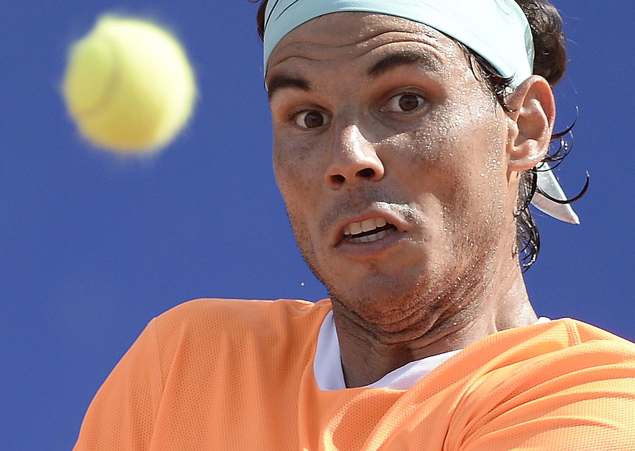 Rafael Nadal keeps an eye on the ball during a match against Nicolas Almagro.